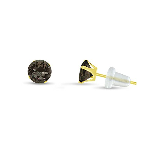 Quartz Gold 10k Smokey (Round 2mm 10k Yellow Gold Genuine Smokey Quartz Stud Earrings, June Birthstone, (0.08 cttw))