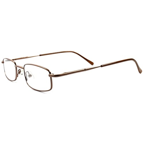 Rx Prescription Ready Slick Modern Rectangle Brown Clear Lens Eye Glasses - Modern Glasses Slick