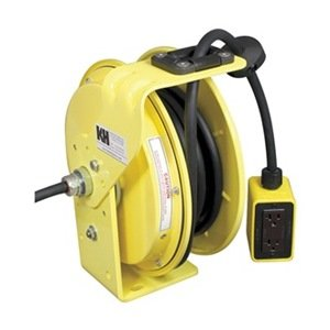 KH Industries RTB Series ReelTuff Industrial Grade Retractable Power Cord Reel with Black Cable, 16/3 SJOW Cable Prewired with Four Receptacle Outlet Box, 10 Amp, 25' Length, Yellow Powder Coat Finish