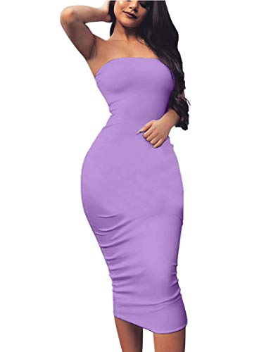 BORIFLORS Women's Basic Sleeveless Tube Top Sexy Strapless Bodycon Midi Club Dress,Small,Purple