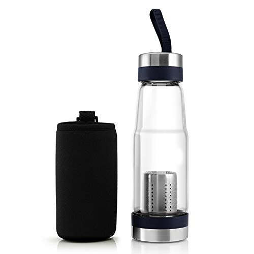 Leoattend Glass Water Bottle,Water Bottles, Outdoor Sport Glass Water Bottle Tea Fruit Filter Infuser with Protective Bag Sleeve