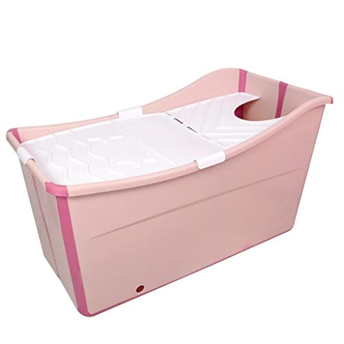WHKFD Bath for Adults, Foldaway Bathtub for The Family of Pets, Large Bathtub,Pink