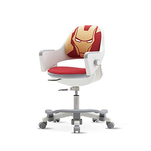 SIDIZ Ringo Kids' Home Study Desk Chair (SN509ACV) with Dual Type Gas Lift, 4-Level Back Adjustment + Footrest Included (PU Leather Mint + Iron Man Cover)