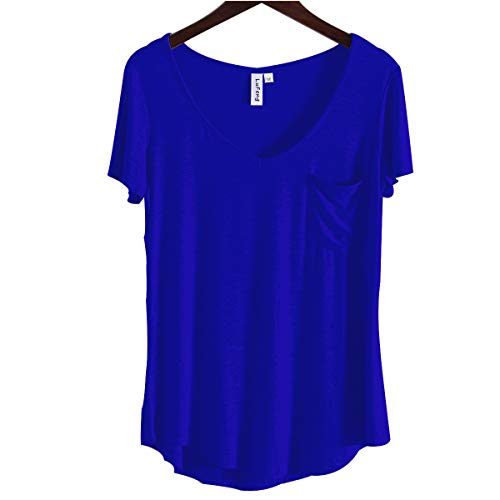 LUFENG Women's Casual V Neck T-Shirt Short Sleeve High Low Tunic Loose Blouse Tops with Pocket Royal ()