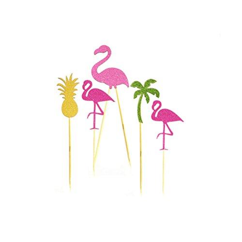 OUNONA-Cake-Topper-Cupcake-Topper-Picks-Decoration-Flamingo-Pineapple-Coconut-Palm-Tree-Pack-of-5