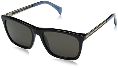 Tommy Hilfiger Th1435s Wayfarer Sunglasses, Black Light Gold/Brown Gray, 55 mm