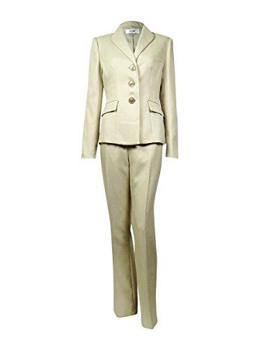 Le Suit Taupe Herringbone Three-Button Pant Suit Set @260 Beige 10
