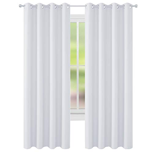 (FLOWEROOM Room Darkening Blackout Curtains Thermal Insulated Draperies with Grommet for Bedroom, 52 by 84 inch, Greyish White, 2 Panels)