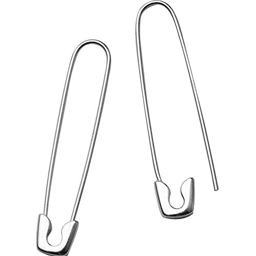 (Cladtina Big Safty Pin Earrings,Gold/White Gold Plated Sterling Silver Minimalist Hoop Earrings for Women Men (Silver))