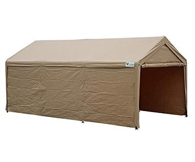 SORARA Carport 10' x 20' Heavy Duty Outdoor Car Canopy Garage Storage Shelter with Detachable Sidewalls, Beige