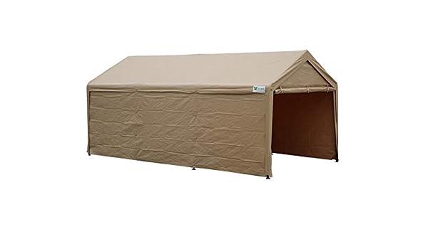 sorara Carport 10 x 20 resistente al aire libre coche toldo refugio de almacenamiento de garaje con paredes laterales extraíble, color beige: Amazon.es: ...