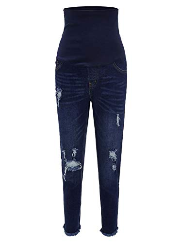 Floerns-Womens-Maternity-Ripped-Washed-High-Waist-Jeans