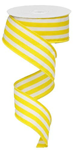 (Vertical Stripe Wired Edge Ribbon - 10 Yards (Yellow, 1.5