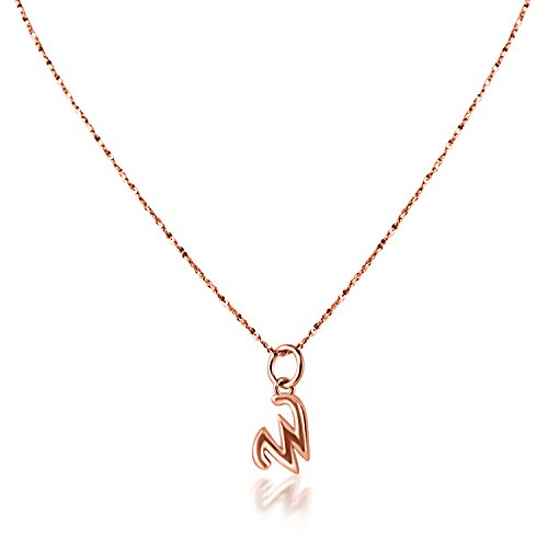PearlsNSilver Personalized Dainty Initial Necklace 14K Rose Gold Over Sterling Silver (W 16