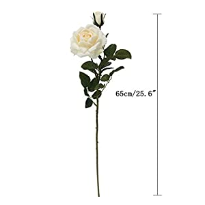 JAROWN Artificial Rose Silk Flowers Fake Leaves Long Branches for Home Wedding Decoration (White) 2