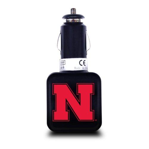 NCAA Nebraska-Omaha Mavericks Dual USB Car Charger with USB Charge/Sync Cable for Apple iPhone, iPod, and iPad