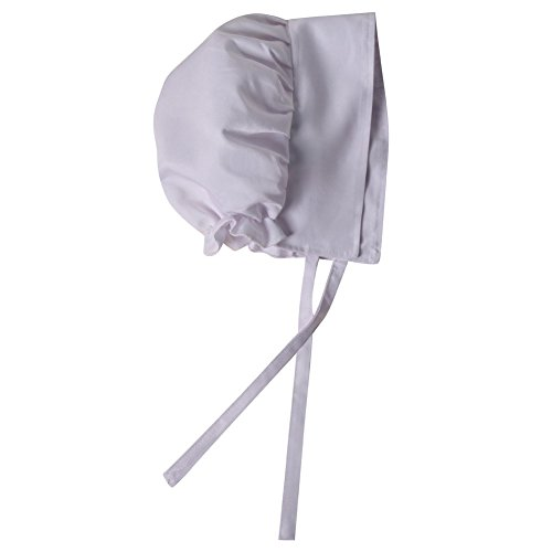 Making Believe Girls Basic Calico Pioneer Bonnet (One Size, White) -