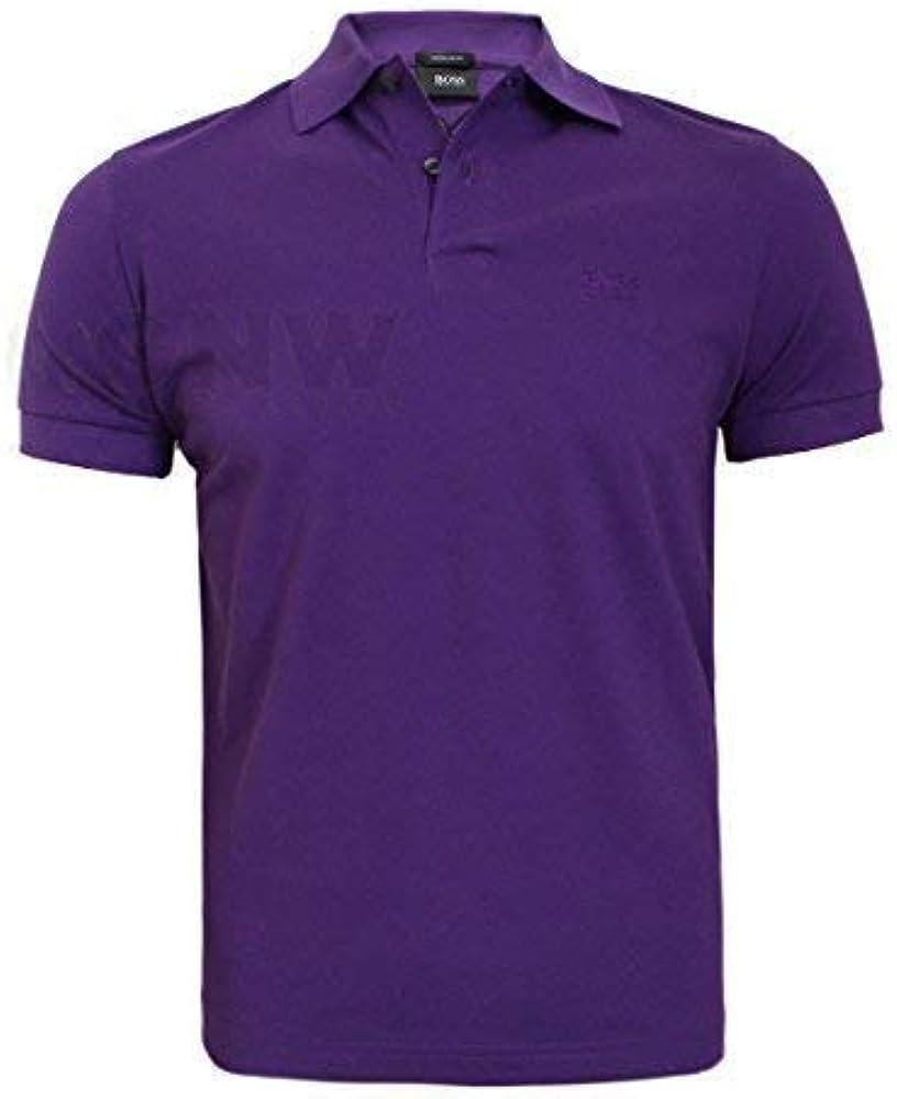 BOSS Polo Camiseta firmo Short Sleeve Regular Fit Morado: Amazon ...