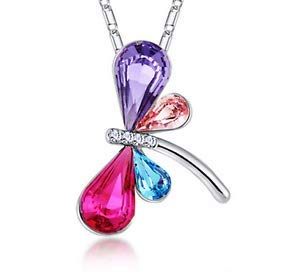 Womens Dragonfly Multicolor Crystal Rhinestone Silver Chain Pendant Necklace ~пјЃпјЃ
