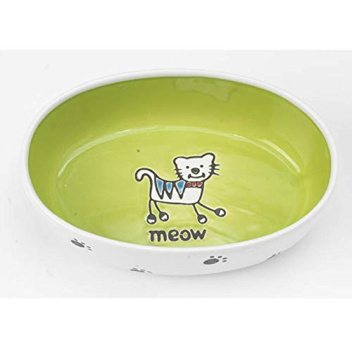 Pet Rageous 2-Cup Silly Kitty Oval Bowl, White/Lime Green