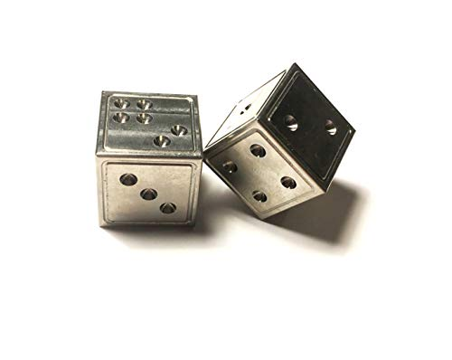(US MADE Precision CNC Machined Grade II solid TITANIUM dice - Metal 6 sided casino die SET of 2)