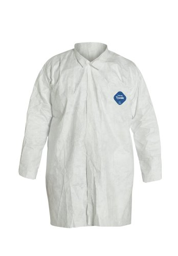 Tyvek White Lab Coat - DuPont Tyvek 400 TY210S Disposable Extra Long Frock with Open Cuff, White, X-Large (Pack of 30)