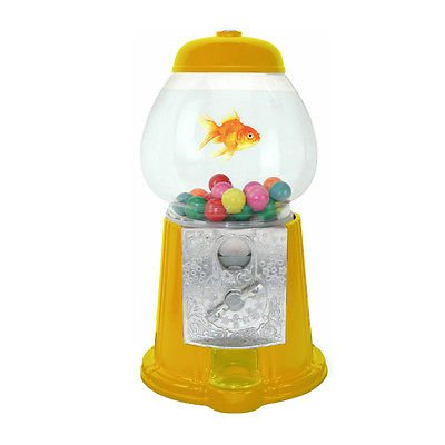 OMT Deco Betta Bowl 11 Inch Tall Acrylic Gumball Machine Yellow by OMT