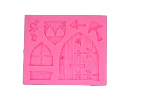 Cartoon Door - Gnome mold Fairy wizard Silicone Cupcake Baking Molds House Cartoon Door forest party Fondant molds wood door window Cake Decorating Tools Gumpaste mushroom Chocolate Candy Clay Mould