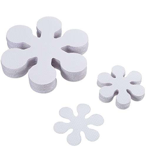 Jovitec 20 Pieces 10 cm/ 4 Inch Non Slip Bath Stickers Adhesive Safety Shower Treads with 20 Pieces 5 cm/ 2 Inch Anti Slip Bathtub Decals Stickers, Clear, Flower Shaped - Shaped Sticker Decal