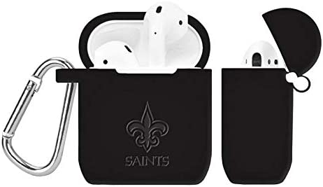 GAME TIME New Orleans Saints Debossed Silicone Case Cover for APPL AirPod Battery Case Black