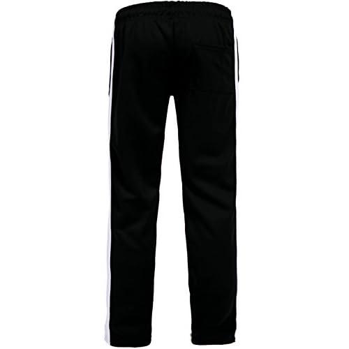 Cromoncent Mens Sports Trousers Striped Zipper Spliced Pants