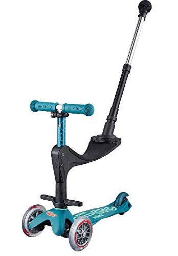 Micro Mini 3in1 Deluxe Plus | 3-Stage Ride-on Micro Scooter with Pushbar for Parents | Toddler Toy for Ages 12 Months to 5 Years | Ice Blue