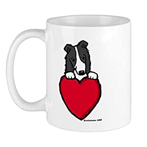CafePress Black Border Collie Valentine Mug Unique Coffee Mug, Coffee Cup 21