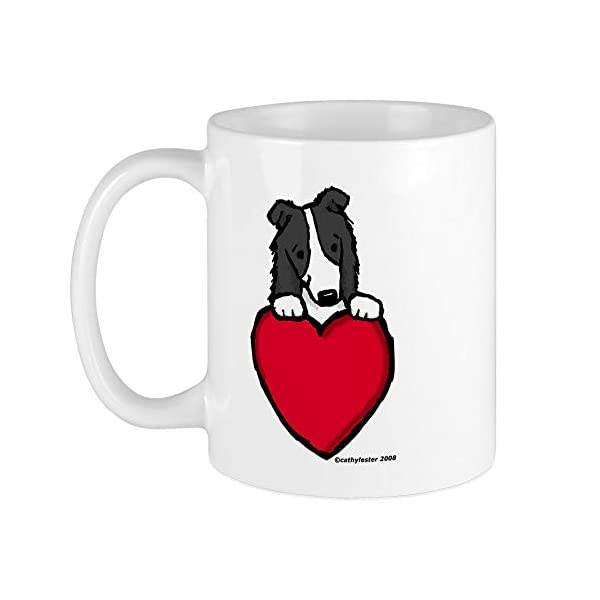 CafePress Black Border Collie Valentine Mug Unique Coffee Mug, Coffee Cup 1