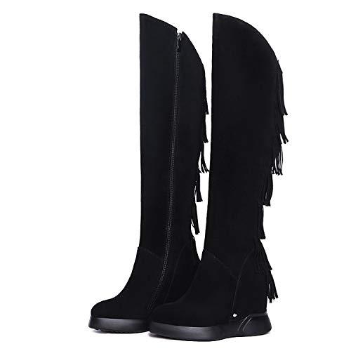 Botines Gruesos de tacón Grueso de Mujer, Largos, Negros, 41: Amazon.es: Zapatos y complementos