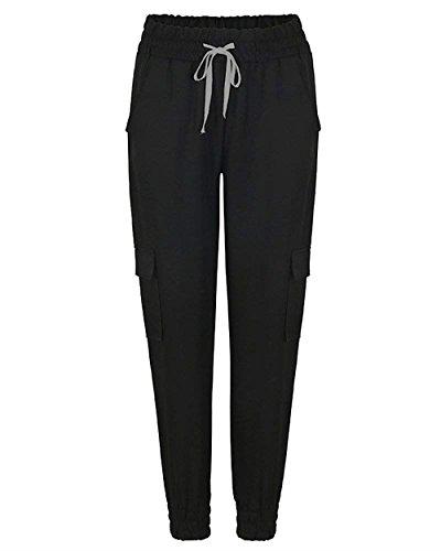 Pants Élégant Temps Large Taille Noir Élastische Pantalon Unicolor Décontracté Cordon Été Femme Mode Femmes Cargo Libre Bolawoo 8qxZFTF