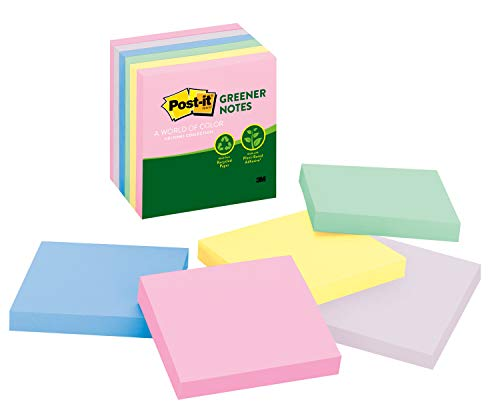 Post-it Greener Notes, America's #1 Favorite Sticky Note, 3 in x 3 in, Helsinki Collection, 6 Pads/Pack ()