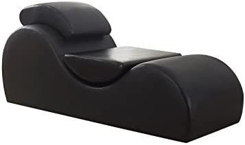 US Pride Furniture Modern Faux Leather Upholstered Relaxation Stretch Chaise and Yoga Chair Black