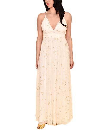 Sidecca Women's Celestial Star & Moon Embroidered Mesh Empire Waist Maxi Dress (X-Large, Cream)