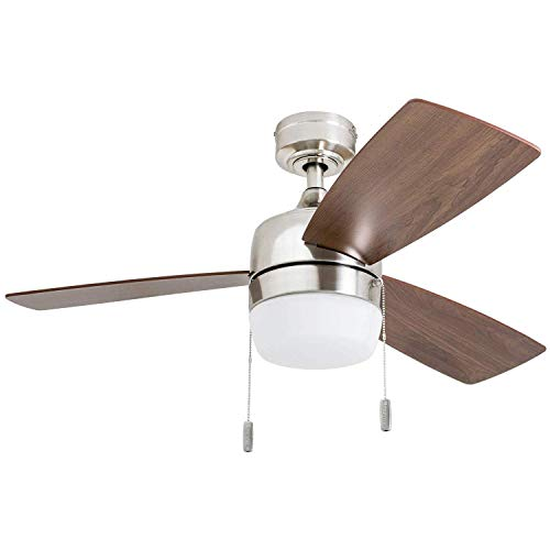 Honeywell 50616-01 Barcadero Ceiling Fan 44 Compact Contemporary, Integrated LED Light, Chocolate Maple Blades, Brushed Nickel