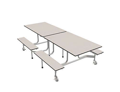 Palmer Hamilton 59TV Easy Folding Mobile Bench Table, 29x30x96, White/Silver, Cafeteria, School Breakroom ()