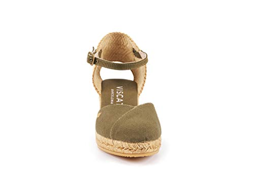 Toe inch Heel With Pubol In 2 Ankle Green Espadrilles Made strap Viscata Closed cactus Spain Classic Vert wzqIICx