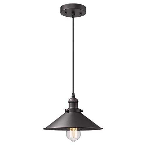 Zeyu Industrial Pendant Light, Vintage Hanging Light Fixture for Dining Room, Oil Rubbed Bronze Finish with Metal Shade, 102-1 ORB (Light Pendant Traditional)