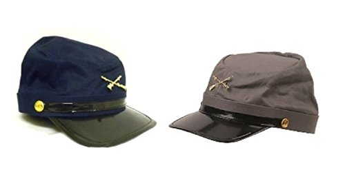 Blue Kepi (Civil War Blue & Gray Kepis ~ 2 Adjustable Cotton Soldier Hats & Civil War Game Sheet)
