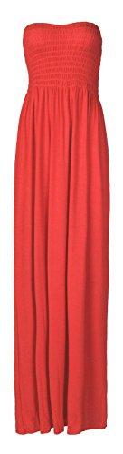 Forever Women's Plus Size Plain Boobtube Elasticated Sheering Maxi Dress