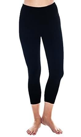 90 Degree By Reflex High Waist Tummy Control Shapewear – Power Flex Capri Legging – Quality Guaranteed - Black XS