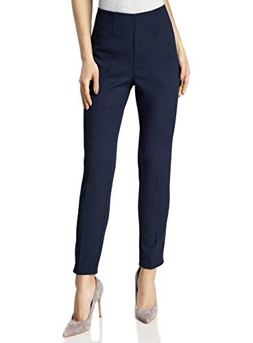 oodji Collection Mujer Pantalones Ajustados con Cremallera en el Lateral Azul (7900N)