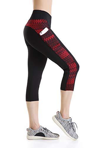 Annjoli Women's Workout Running Leggings Exercise Yoga Pants Capris Leggings with Pockets (XL, Black Plus Red)