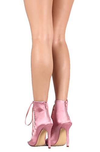 Toe Ribbon Stiletto Pink Liliana up Nikia Boots Satin Lace 104 Peep Ankle Booties 1qq6aE