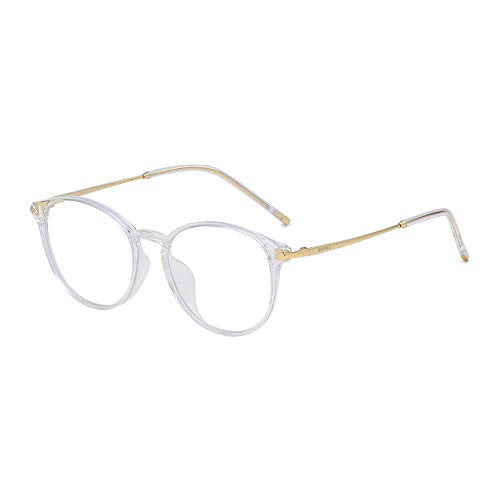 (DONNA Round Lens Integrated Nose Pad Comfortable Eyeglasses Retro Design Anti-blue Light DN13-AHB )